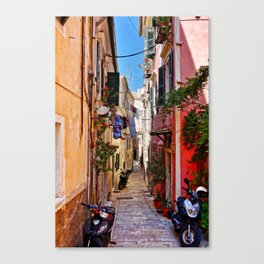 Alley in Corfu Town, Greece Canvas Print