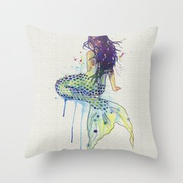 Mermaid - Natural Throw Pillow
