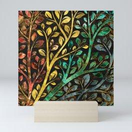 Gemstone Tree with golden decor Mini Art Print