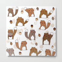 Squirrels & Acorns Metal Print
