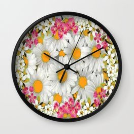 PINK FLOWERS WHITE DAISIES GARDEN Wall Clock