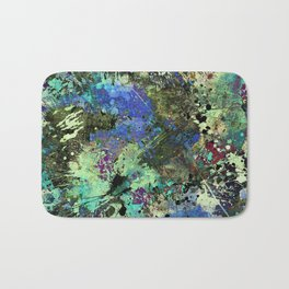 Deep In Thought - Black, blue, purple, white, abstract, acrylic paint splatter artwork Bath Mat
