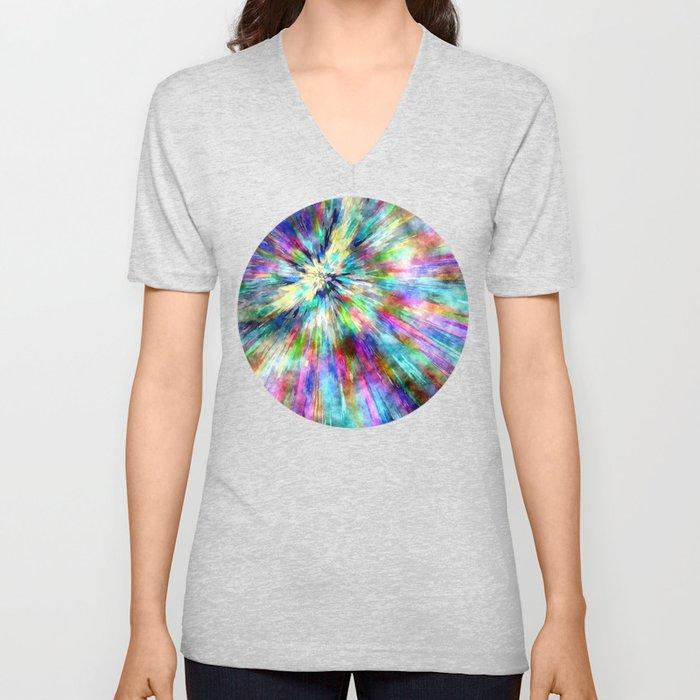 Colorful Tie Dye Watercolor Unisex V-Neck