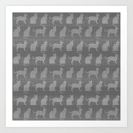 Abstract Cat Textured Impression in Greys Art Print