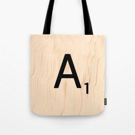 Letter A Scrabble Art Tote Bag