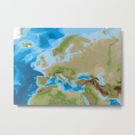 Topographic map of Europe Metal Print