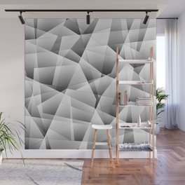 Exclusive light monochrome pattern of chaotic black and white fragments of glass and ice floes. Wall Mural