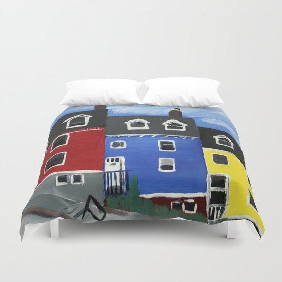Newfoundland Houses Canada acrylics on canvas Duvet Cover