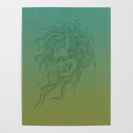 Japanese Oni Head Poster