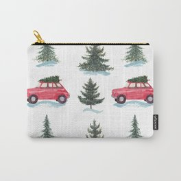 Red car and christmas tree in forest Carry-All Pouch