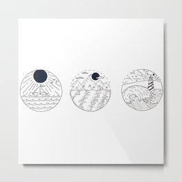 Nautical Themed Design Trio — Nautical Landscapes Illustration Metal Print
