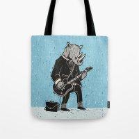 rhino Tote Bags featuring Rhino by Ronan Lynam
