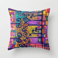 tour de france Throw Pillows featuring tour de france by karrenn