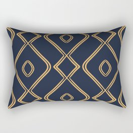 Modern Boho Ogee in Navy & Gold Rectangular Pillow