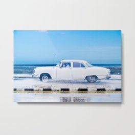 Waves and Classic Cars of the Malecón - 1 Metal Print