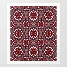 Folk Flower, Bohemian Arabesque Pattern Burgundy White Teal Art Print