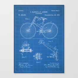 Cycling Patent - Bicycle Art - Blueprint Canvas Print