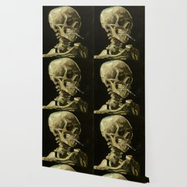 Skull of a Skeleton with Burning Cigarette by Vincent van Gogh Wallpaper