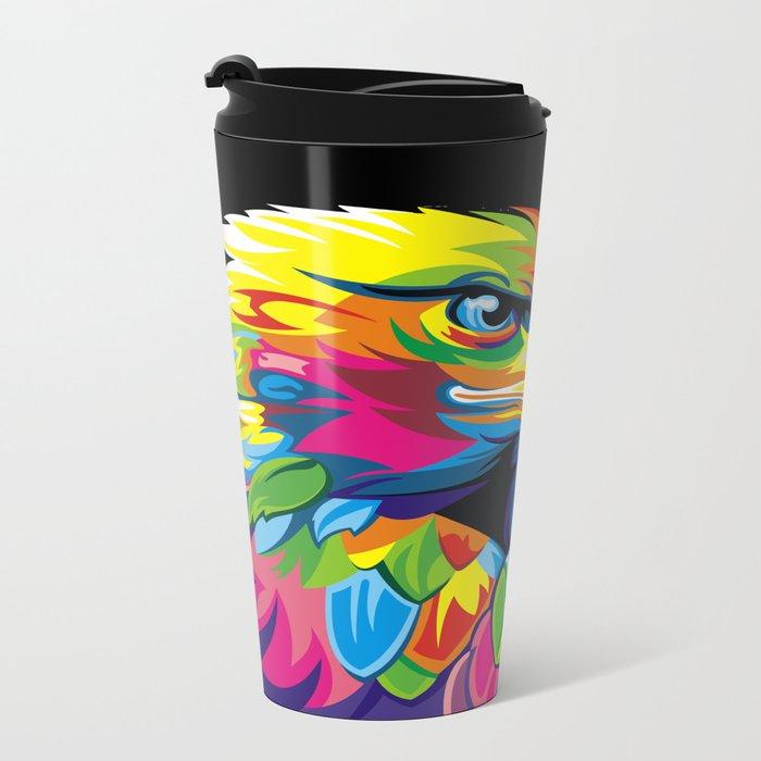 Abstract Pop Art Eagle Owl Metal Travel Mug