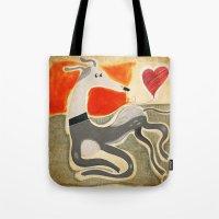 greyhound Tote Bags featuring Greyhound by elgaga