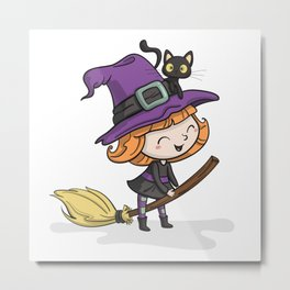 Cute Halloween Witch illustration Metal Print