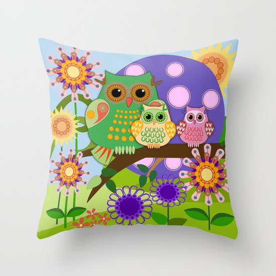 Owls, Flowers Fantasy design Throw Pillow