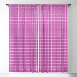 Grid Pattern - magenta and white - more colors Sheer Curtain