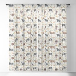 Cows with Pink and Yellow Flowers on Cream, Cow Illustration, Floral Sheer Curtain