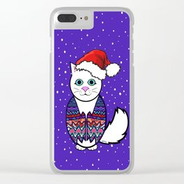 Christmas cat in sweater vest Clear iPhone Case
