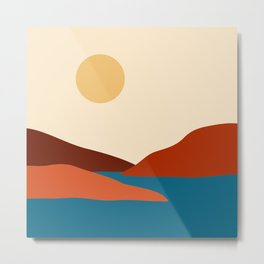 Relaxing Minimal Abstract Mountain Landscape with Water Inlet and Boat Metal Print