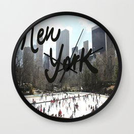 ice skating, new york  Wall Clock