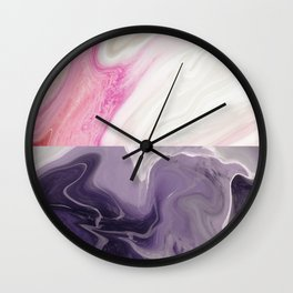 Two toned Rose & black night marble Wall Clock