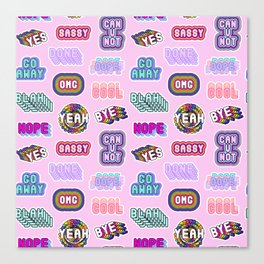 Fun patches / pink Canvas Print
