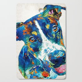Colorful Dog Art - Happy Go Lucky - By Sharon Cummings Cutting Board