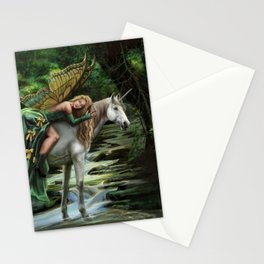 Sleeping Fairy on Unicorn Stationery Cards