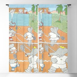 Babar playing tennis Blackout Curtain