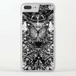 Black and White Honeysuckle and Moths Clear iPhone Case