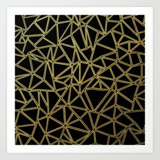 Abstract Blocks Gold Art Print