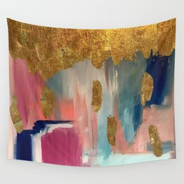 Gold Leaf & Indigo Blue Abstract Wall Tapestry