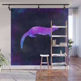 FERRET IN SPACE // Animal Graphic Art // Watercolor Canvas Painting // Modern Minimal Cute Wall Mural