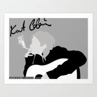 kurt cobain Art Prints featuring kurt cobain.  by JessicaSzymanski
