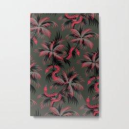 Snake Palms - Dark Vintage Coral Metal Print