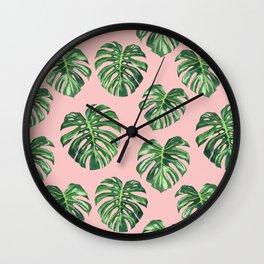 monstera pattern Wall Clock