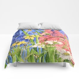 Cottage Garden Delphinium and Hollyhocks Painting Comforters