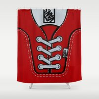 vans Shower Curtains featuring Red Vans shoes iPhone 4 4s 5 5s 5c, ipod, ipad, pillow case and tshirt by Three Second