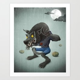 Halloween Wolfman Art Print