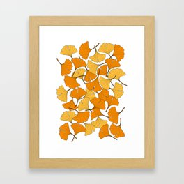 ginkgo leaves (orange) Framed Art Print