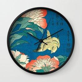 Katsushika Hokusai Peonies and Canary 1834 Wall Clock