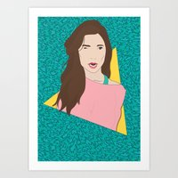 80s Art Prints featuring 80s Gal by Levi Allred