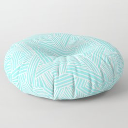 Sketchy Abstract (White & Aqua Pattern) Floor Pillow
